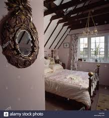 Mirror Ceiling Bedroom Ornate Antique Mirror And Brass Bed In Country Attic Bedroom With