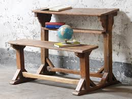 school table. Vintage School Desk And Bench Table