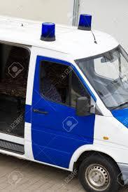 Van Light Bars Police Van With Light Bars On The Street