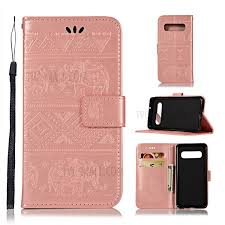 imprint elephant leather wallet cover for samsung galaxy s10 rose gold 1