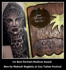 Best Portraitrealism Award Won By Mukesh At Goa Tattoo Festival