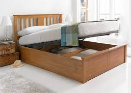 Ottoman In Bedroom Malmo Oak Finish Wooden Ottoman Storage Bed Light Wood Wooden