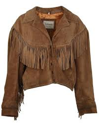 trekway brown suede fringe western leather jacket l