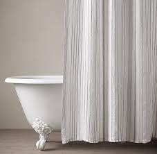 Free shipping. Italian Stripe Jacquard Linen Shower Curtain