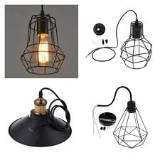 vintage metal wire cage hanging lamp shade pendant light chandelier shade