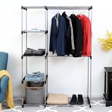portable closet storage organizer clothes wardrobe hats shoes rack with shelves