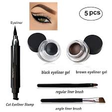 amazon eyeliner st kit latest for easy cat eyes winged eyeliner st water proof smudge proof black and brown eyeliner gel 5 pcs set with 2 pieces