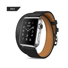 extra long genuine leather band double tour bracelet leather strap watchband for apple watch series4 3 2 1 38mm sport 42mm woman band color black band width
