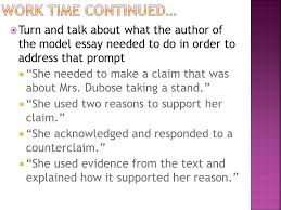 module a unit lesson analyzing the model essay studying turn and talk about what the author of the model essay needed