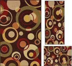 3 piece rug set modern oriental geometric circle carpet area three menards
