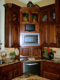 ... Built In Dining Room Cabinets Interior Kitchen Furniture Brown Oak Corner  Cabinet Pantry With Microwave And ...