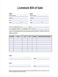 Bill Of Sale Samples 24 Livestock Bill Of Sale Form Free Sample Example Format Download 20