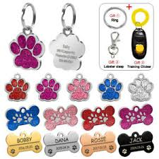 Pet Cat paw Name Tags Ebay Dog Puppy Engraved Glitter Id Collar Tag Bone Personalized