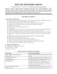 Cover Letter Business Intelligence Resume Example With Technical