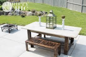 diy outdoor bench and farmhouse table