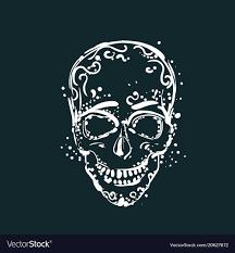 White Skull Tattoo On Dark Background Mexican