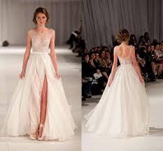 Discount 2015 Wedding Dresses With Slit Beach Wedding Gowns Cap
