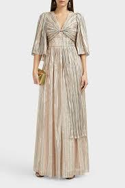 Peter Pilotto Size Chart Metallic Striped Chiffon Gown