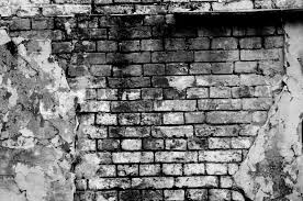 Old brick wall forming a frame (in black and white) | Stock Photo |  Colourbox