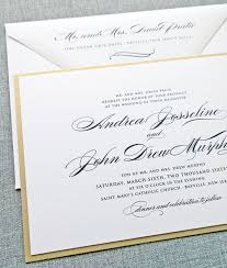 Sample Of Weeding Invitation Andrea Script Metallic Gold Layered Wedding Invitation Sample Elegant Classic Formal Wedding Invitation