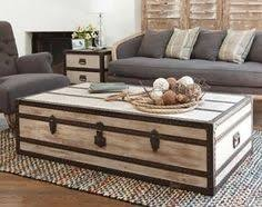 White Steamer Trunk Coffee Table. Great example of lightening the room  against the gray blue