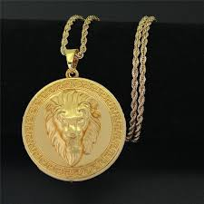 details about men s 18k real gold plated lion head pendant necklace twisted rope chain 80cm