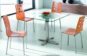 cute orange chairs with metal legs plus white painted floor idea feat modern small square dining