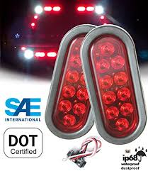 AUTOSMART <b>2PCS</b> Red Oval Sealed <b>LED Turn Signal</b> and Parking