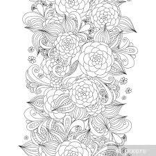 Fotobehang Vector Doodle Bloemen Naadloze Grens Zentangle