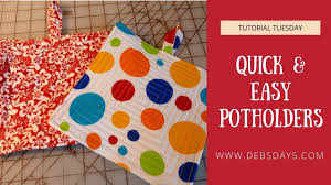 how to sew easy and quick potholders from fabric diy project