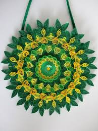 green glittered fl paper quilled wall hanging home