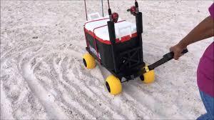 plus one beach cart vs canvas accordion style mac sports quest beach wagons in deep soft loose sand