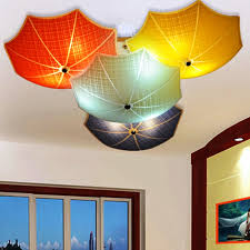 kids room chandelier modern children bedroom ceiling lamps multicolour umbrella glass lampshade