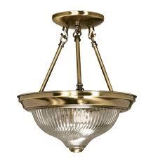 semi flush mount lighting. Antique Brass And Gold, Glass Shaded Semi-Flush Fixture Semi Flush Mount Lighting