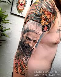 The Witcher Tattoo By Michael Taguet рукав игровые татуировки