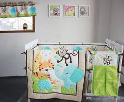 baby bedding set 3d elephants monkeys tigers baby crib bedding set include quilt skirt per fitted urine bag cot comforter sets bedding baby cot bedding