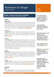 Protection In Danger Monthly News Brief May 2019 World