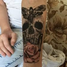 Dočasné Tetování Smrtihlav S Lebkou A Růží