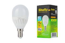 <b>Лампа светодиодная шар</b>, <b>SHOLTZ</b>, керамика 11Вт E14 2700K ...