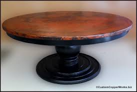 large round copper top dining table wood pedestal table base 1 round copper top dining table