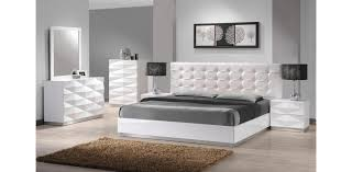 white modern bedroom sets. Carrerie - Modern White Leatherette 5PC Bedroom Set Sets E