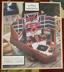 Wooden Baseball Game Toy NEW Studio Mercantile Wooden Baseball Tabletop Vintage Inspired 42