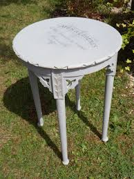 round side table with french text yummy shabby chic ness