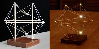 tensegrity furniture. tensegrity pine sticks with nylon cords and 10 led lamps furniture