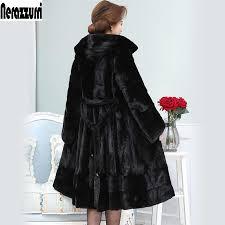 nerazzurri women real mink fur coat with hood long black