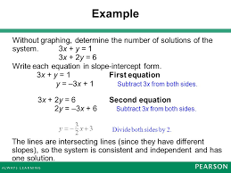 example without graphing determine the number of solutions of the system 3x y