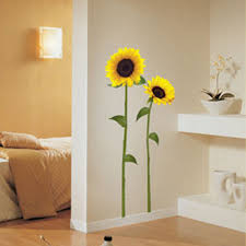 two large sunflower wall stickers