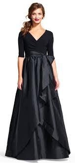ball skirt. three quarter sleeve wrap dress with taffeta ball skirt b