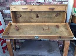 vintage wooden carpenters painters tool box chest