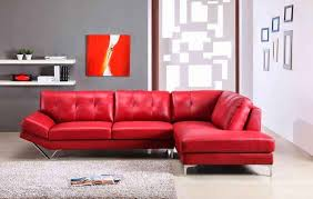 decorate living room red leather sofa